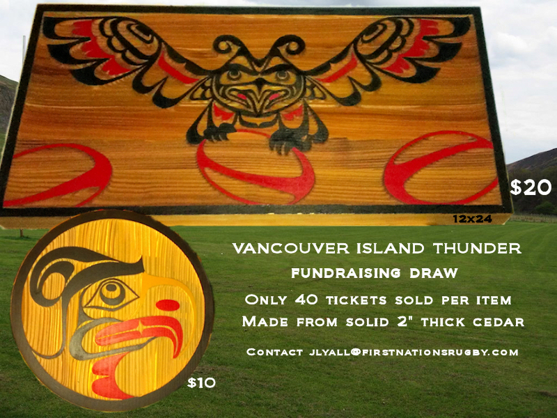 "Support the Vancouver Island Thunder! Win a Thunderbird Cedar Panel. The panel is sandblasted cedar, Acrylic on Cedar, 12"" by 24"". Only 40 tickets for sale, $20 a ticket. Email […]"