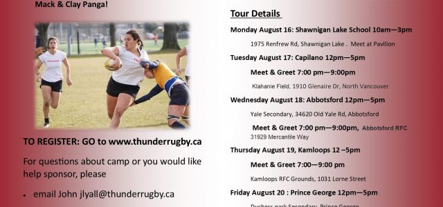 Thunder Rugby will be holding camps across BC this July and August in preparation for our tour to New Zealand in October 2022. We will holding one day camps in […]